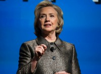 """Former U.S. Secretary of State Clinton speaks during the unveiling of """"No Ceilings"""" and the """"Not There Yet: A Data Driven Analysis of Gender Equality study"""" in New York"""